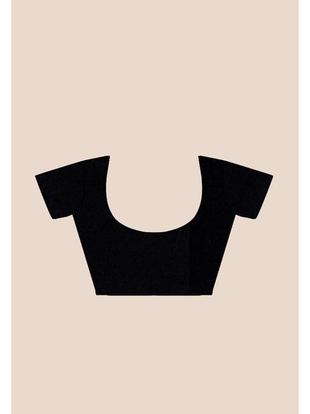 Mercerized Handloom Black Khadi Cotton Saree with Pompom and Blouse Piece-4