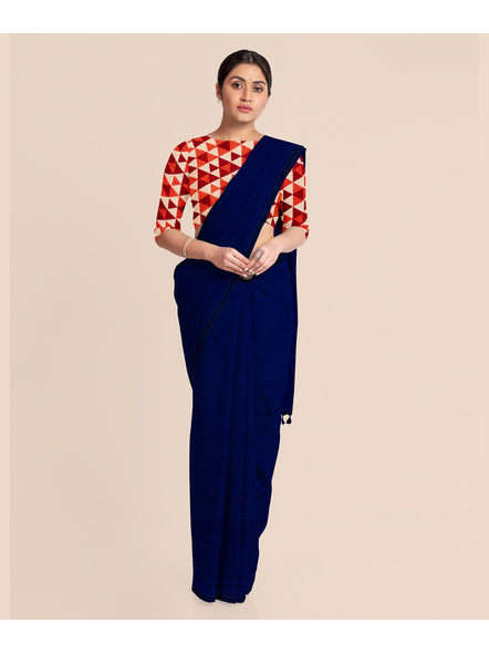 Mercerized Handloom Midnight Blue Khadi Cotton Saree with Pompom and Blouse Piece-LAAMHCWBP006