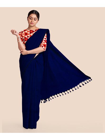 Mercerized Handloom Midnight Blue Khadi Cotton Saree with Pompom and Blouse Piece-2