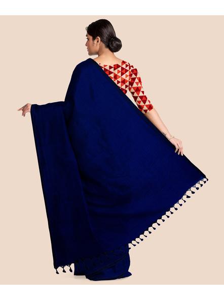 Mercerized Handloom Midnight Blue Khadi Cotton Saree with Pompom and Blouse Piece-1