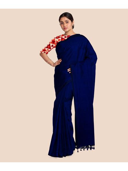 Mercerized Handloom Midnight Blue Khadi Cotton Saree with Pompom and Blouse Piece-3