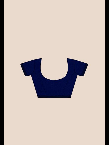 Mercerized Handloom Midnight Blue Khadi Cotton Saree with Pompom and Blouse Piece-4