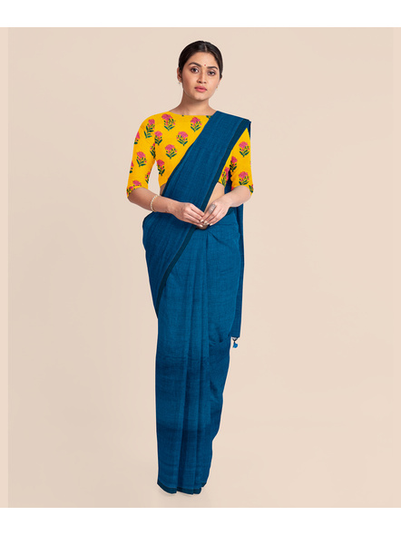 Mercerized Handloom Turquoise Blue Khadi Cotton Saree with Pompom and Blouse Piece-2