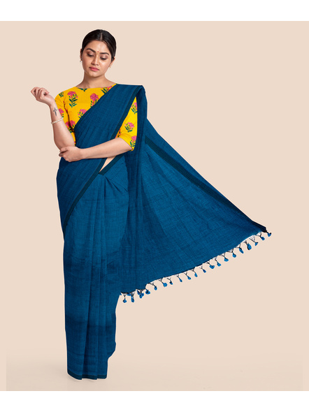 Mercerized Handloom Turquoise Blue Khadi Cotton Saree with Pompom and Blouse Piece-LAAMHCWBP007
