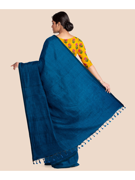 Mercerized Handloom Turquoise Blue Khadi Cotton Saree with Pompom and Blouse Piece-1