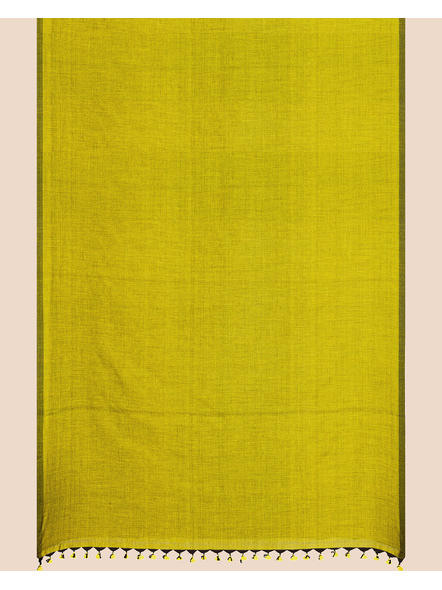 Mercerized Handloom Olive Green Khadi Cotton Saree with Pompom and Blouse Piece-1
