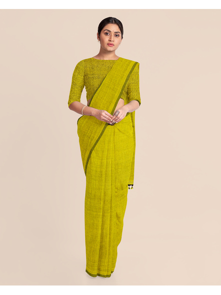 Mercerized Handloom Olive Green Khadi Cotton Saree with Pompom and Blouse Piece-2