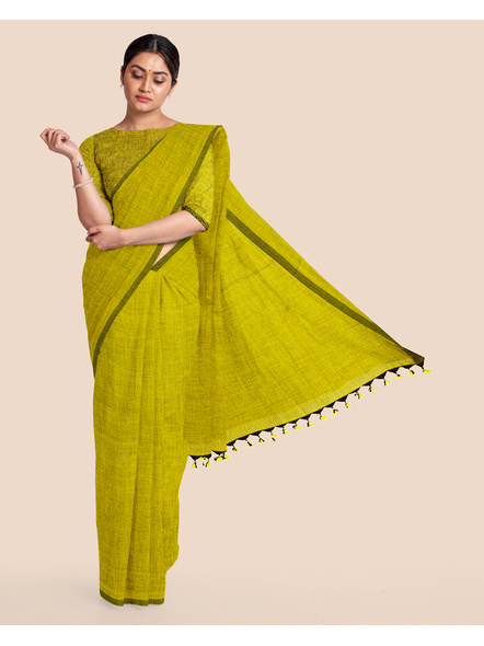 Mercerized Handloom Olive Green Khadi Cotton Saree with Pompom and Blouse Piece-LAAMHCWBP008