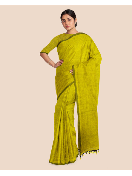 Mercerized Handloom Olive Green Khadi Cotton Saree with Pompom and Blouse Piece-3