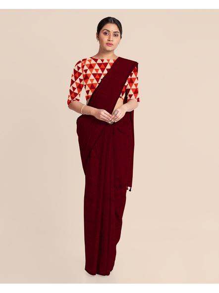 Mercerized Handloom Maroon Khadi Cotton Saree with Pompom and Blouse Piece-2