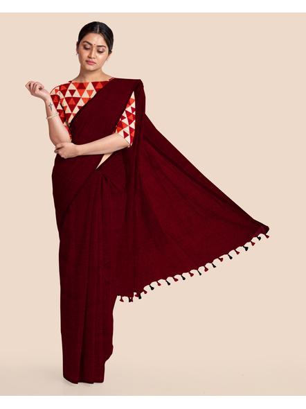Mercerized Handloom Maroon Khadi Cotton Saree with Pompom and Blouse Piece-LAAMHCWBP009
