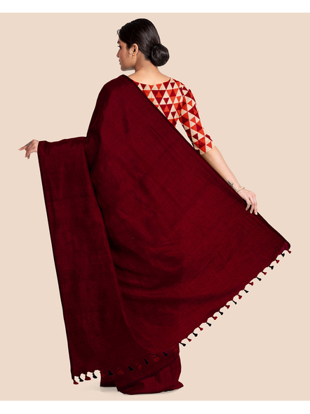Mercerized Handloom Maroon Khadi Cotton Saree with Pompom and Blouse Piece-1