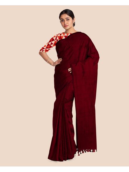 Mercerized Handloom Maroon Khadi Cotton Saree with Pompom and Blouse Piece-3