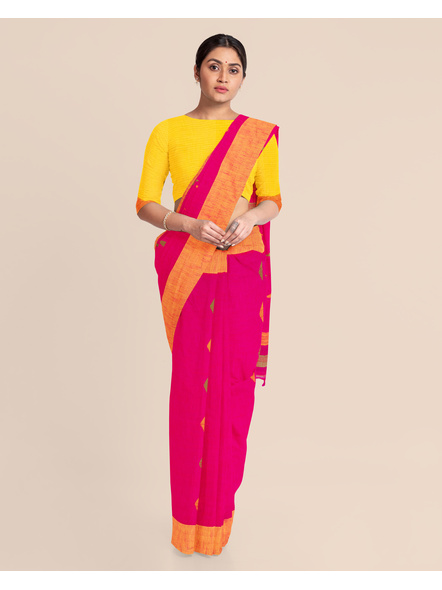 Pink Khadi Cotton Handloom Saree with Pompom and Blouse Piece-2