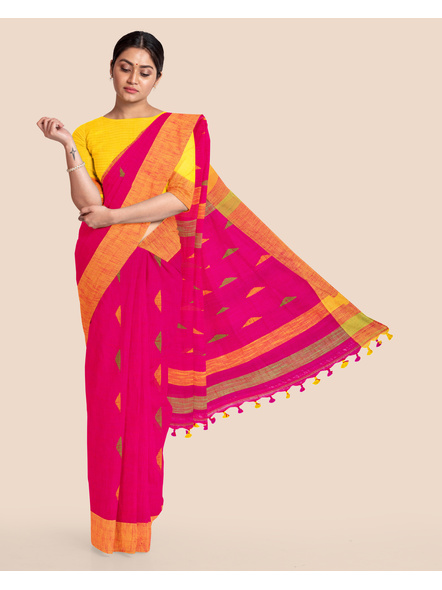 Pink Khadi Cotton Handloom Saree with Pompom and Blouse Piece-LAAHLSWBP001