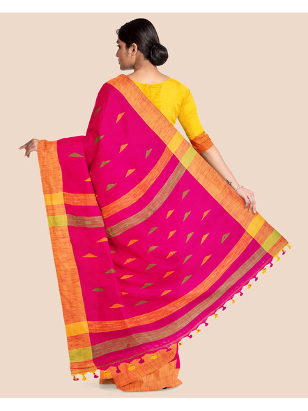 Pink Khadi Cotton Handloom Saree with Pompom and Blouse Piece-1