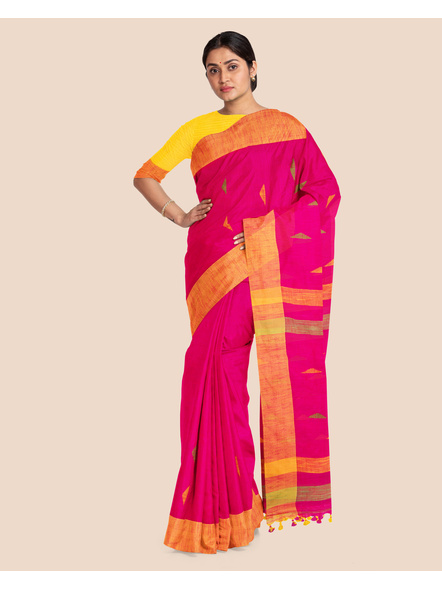 Pink Khadi Cotton Handloom Saree with Pompom and Blouse Piece-3