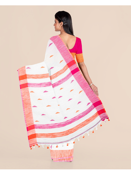 White Khadi Cotton Handloom Saree with Pompom and Blouse Piece-1