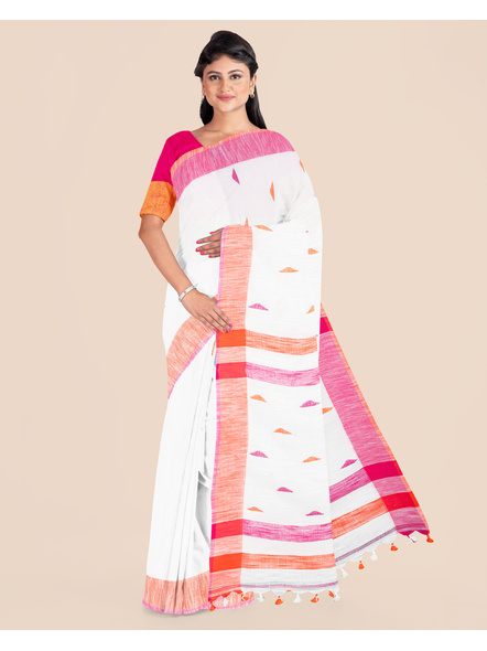 White Khadi Cotton Handloom Saree with Pompom and Blouse Piece-LAAHLSWBP002