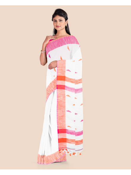 White Khadi Cotton Handloom Saree with Pompom and Blouse Piece-2