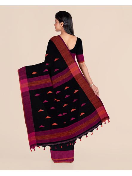 Black Khadi Cotton Handloom Saree with Pompom and Blouse Piece-1