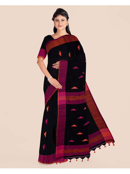 Black Khadi Cotton Handloom Saree with Pompom and Blouse Piece-LAAHLSWBP003