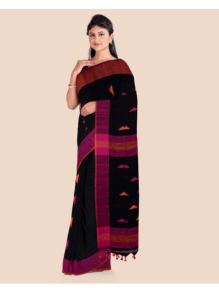 Black Khadi Cotton Handloom Saree with Pompom and Blouse Piece-3