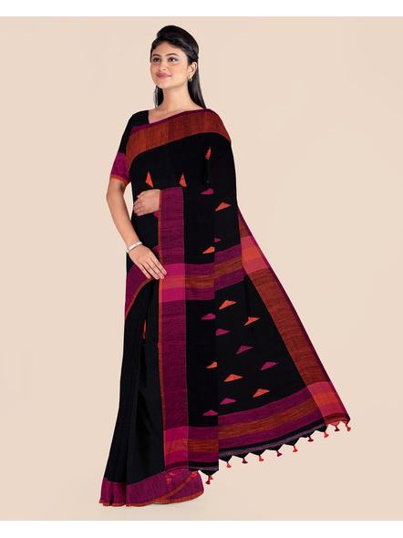 Black Khadi Cotton Handloom Saree with Pompom and Blouse Piece-2