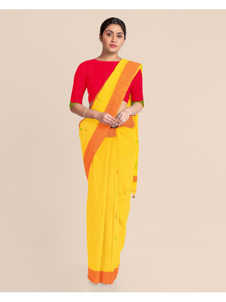 Yellow Khadi Cotton Handloom Saree with Pompom and Blouse Piece-2