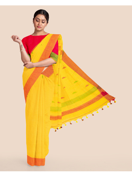 Yellow Khadi Cotton Handloom Saree with Pompom and Blouse Piece-LAAHLSWBP004