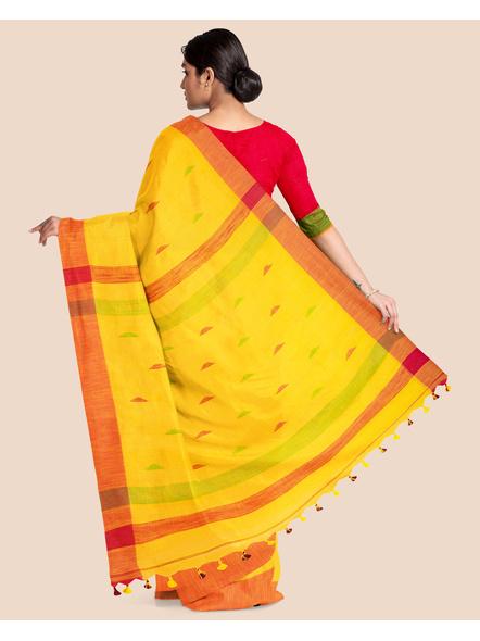 Yellow Khadi Cotton Handloom Saree with Pompom and Blouse Piece-1