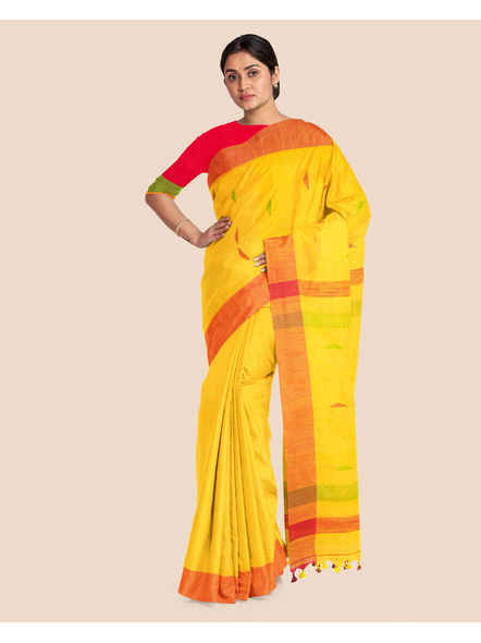 Yellow Khadi Cotton Handloom Saree with Pompom and Blouse Piece-3