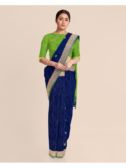 Blue Green Ball Buti Khadi Cotton Handloom Saree with Pompom and Blouse Piece-2