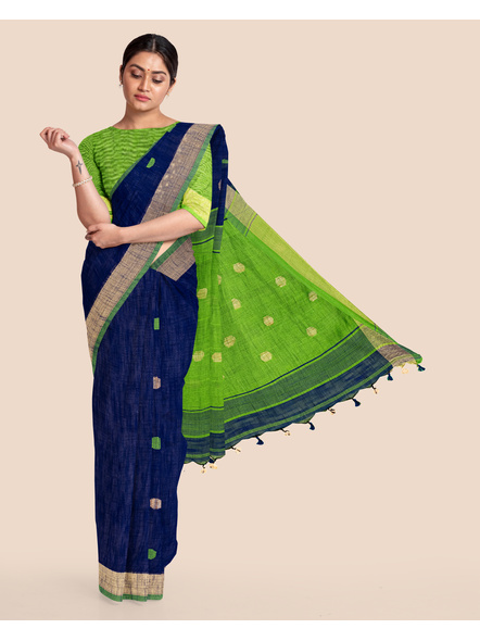 Blue Green Ball Buti Khadi Cotton Handloom Saree with Pompom and Blouse Piece-LAAHLSWBP005