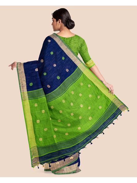 Blue Green Ball Buti Khadi Cotton Handloom Saree with Pompom and Blouse Piece-1