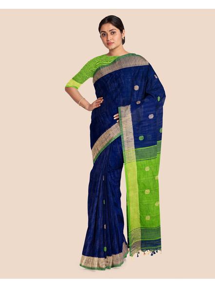 Blue Green Ball Buti Khadi Cotton Handloom Saree with Pompom and Blouse Piece-3