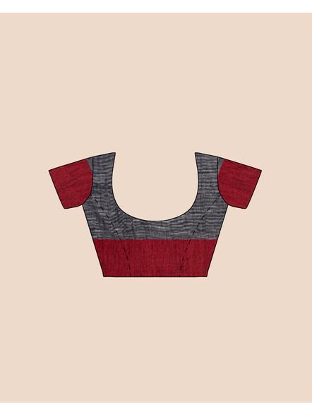 Slate Grey Khadi Cotton Handloom Saree with Pompom and Blouse Piece-4