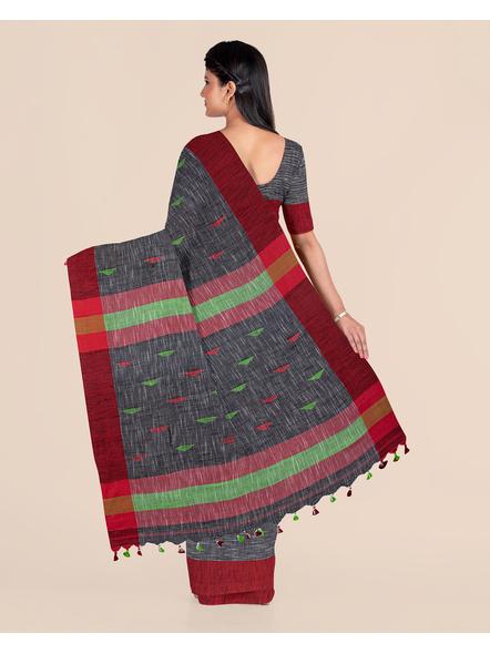 Slate Grey Khadi Cotton Handloom Saree with Pompom and Blouse Piece-1