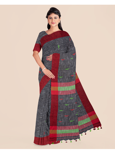 Slate Grey Khadi Cotton Handloom Saree with Pompom and Blouse Piece-LAAHLSWBP006