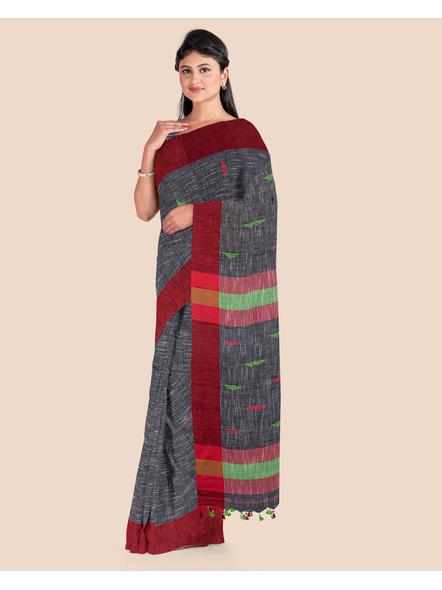 Slate Grey Khadi Cotton Handloom Saree with Pompom and Blouse Piece-2