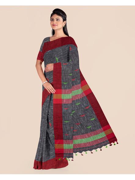 Slate Grey Khadi Cotton Handloom Saree with Pompom and Blouse Piece-3