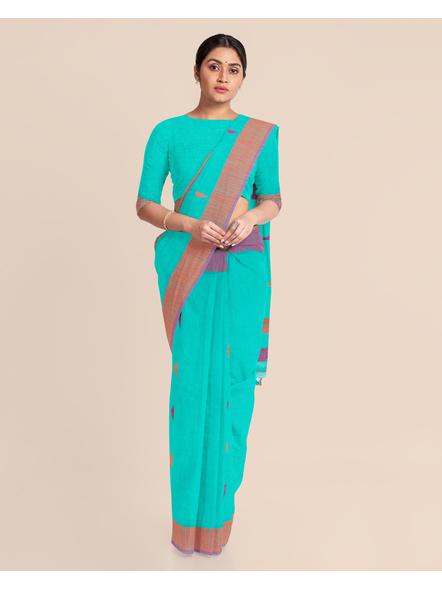 Teal Blue Khadi Cotton Handloom Saree with Blouse Piece-3