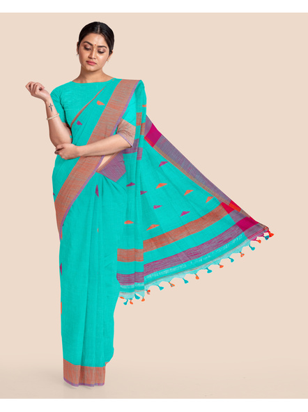 Teal Blue Khadi Cotton Handloom Saree with Blouse Piece-LAAHLSWBP007