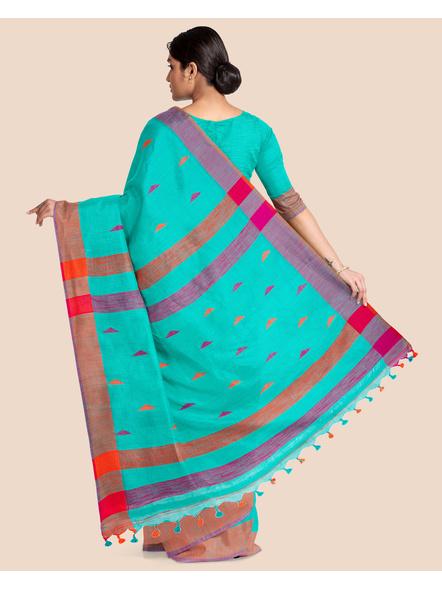 Teal Blue Khadi Cotton Handloom Saree with Blouse Piece-1