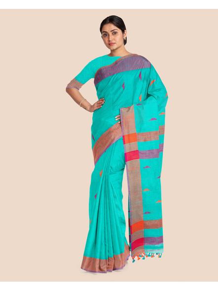 Teal Blue Khadi Cotton Handloom Saree with Blouse Piece-2