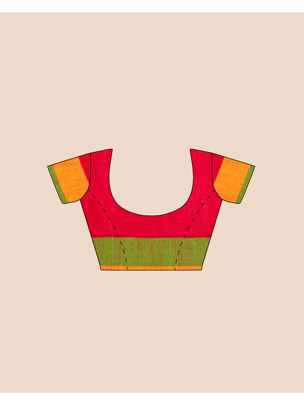 Red Khadi Cotton Handloom Saree with Pompom and Blouse Piece-4