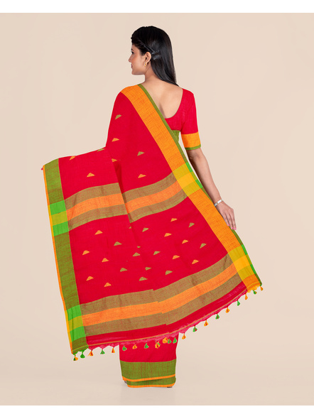 Red Khadi Cotton Handloom Saree with Pompom and Blouse Piece-1