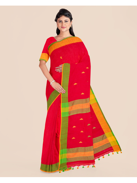 Red Khadi Cotton Handloom Saree with Pompom and Blouse Piece-LAAHLSWBP008