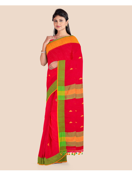 Red Khadi Cotton Handloom Saree with Pompom and Blouse Piece-2