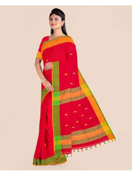 Red Khadi Cotton Handloom Saree with Pompom and Blouse Piece-3
